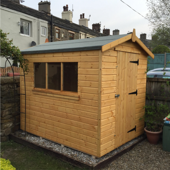 Pendale apex garden shed sizes from 7 39 x5 39 dsbuildings for Garden shed sizes